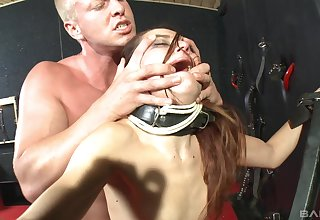 Rough spanking, mouth and pussy penetration for pledged brunette