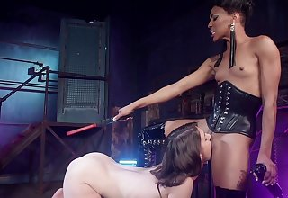 Dominant female ass fucks her slave wholesale then makes her eat pussy