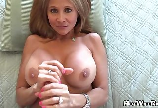 Mature palmy housewife with phat milk globes is frolicking with her paramour's rock rigid manstick