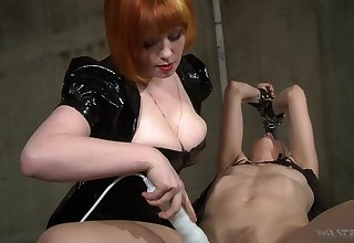 Hot mistress uses her boobs roughly get herself slaves and she loves electro play