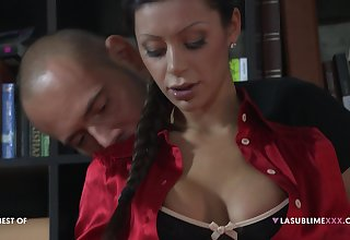 Troika with double penetration for darling Elena Grimaldi
