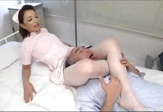 Japanese nurse loves to pleasure her patients dimension working