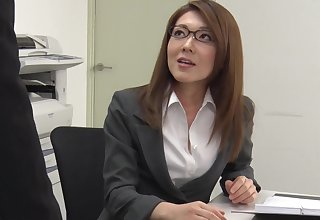 Too tired be advisable for office work Japanese lady Mao Saitou plays with her shaved pussy