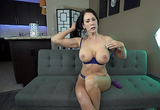 Mature up tall tits, intense solo masturbation on the couch