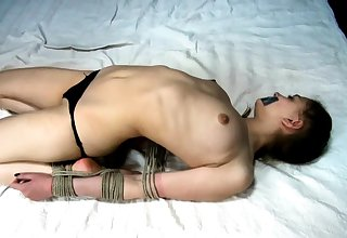 Extremely hardcore BDSM rope copulating down anal action