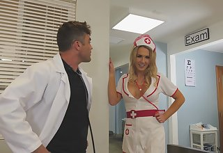 Sexy nurse helps her doctor with in all directions from his needs and she's got big boobs